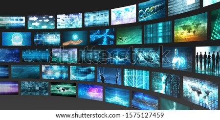 Digital Abstract Background with Multimedia Technology Art 3D Render Stock fotó ©