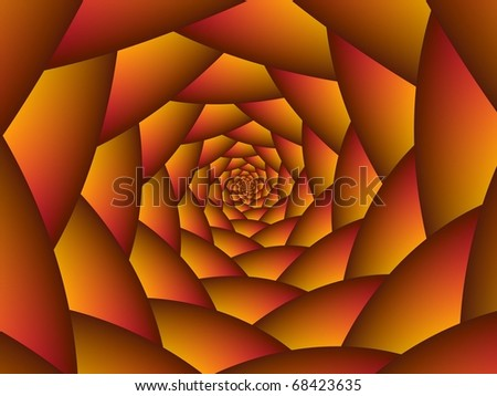 Digital abstract design depicting a spiral of spheres in shades of orange.