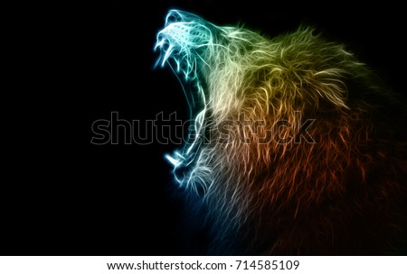 Digital abstract drawing of a lion