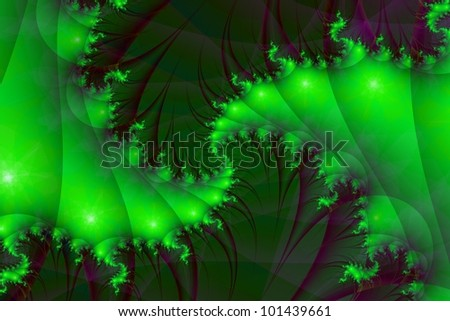 Digital abstract image with a spiral design in shades of green and purple.