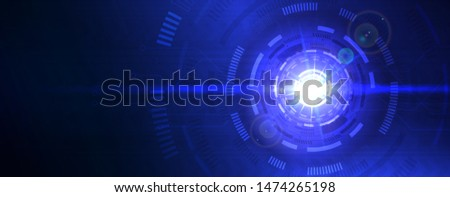 Digital abstract lens flare space, science fiction time and space travel cosmic background. Round futuristic energy reactor, technological light in the dark. Hi-tech futuristic background