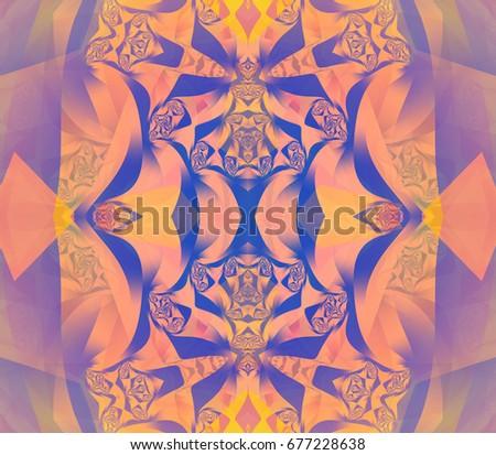 Digital abstract multicolored mandala. Bright flower. Beautiful illustration.