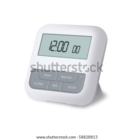 Digital alarm clock isolated on a white background #58828813