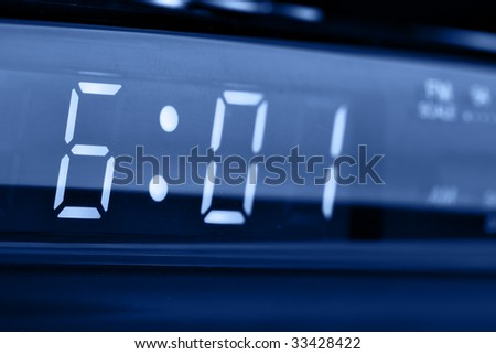 Digital alarm clock radio close-up (6 am)