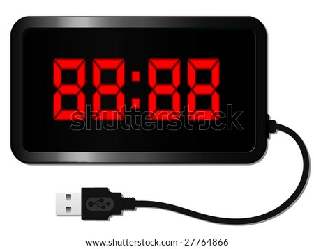 Digital alarm clock with USB cable