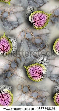 Digital All over colourfull Leaf With Grey Background Сток-фото ©