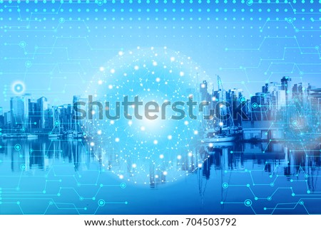 Digital and connection concept concept with Blurry Modern Business buildings with skyline at night