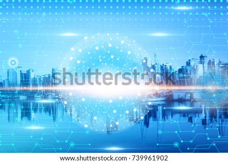 Digital and connection concept  with Blurry Modern Business buildings and skyline at night #739961902