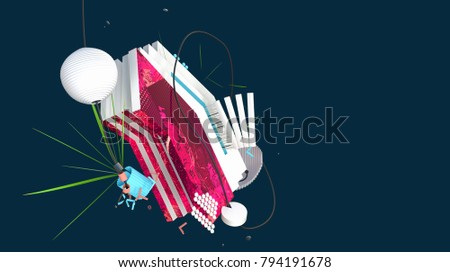 digital art abstraction, curious composition with different objects, shapes and forms flying in space, high resolution 3D render