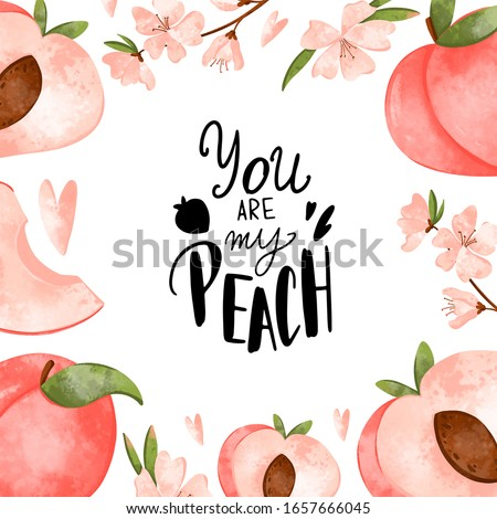 Digital art cute square card with peaches and the inscription you are my peach for Valentine's Day. Print for fabrics, packaging paper, packaging, covers, cards, invitations, posters.
