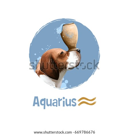 Stock Photo Digital art illustration of astrological sign Aquarius. 2018 year of dog. Eleventh of twelve signs in zodiac. Horoscope air element. Logo sign with water jug. Graphic design for web, print. Add text