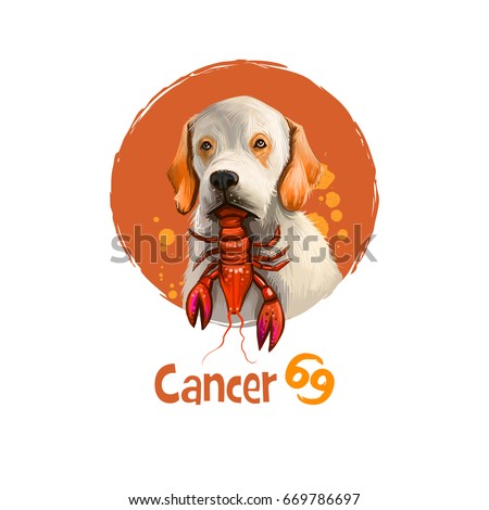 Stock Photo Digital art illustration of astrological sign Cancer. 2018 year of dog. Fourth of twelve zodiac signs. Horoscope water element. Logo sign with crab. Graphic design clipart for web, print. Add any text