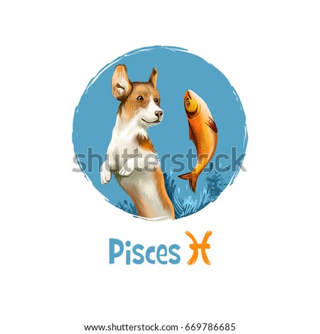 Digital art illustration of astrological sign Pisces. 2018 year of dog. Twelfth of twelve zodiac signs. Horoscope water element. Logo sign with fish. Graphic design clip art for web, print. Add text