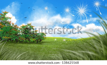 Digital art of dandelion seeds floating in a fresh green meadow in spring