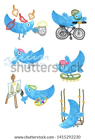 digital art of funny cartoon bird pictograms pattern doing activities, beer drinking, octoberfest, cycling, swimming, skateboarding, painting,swinging