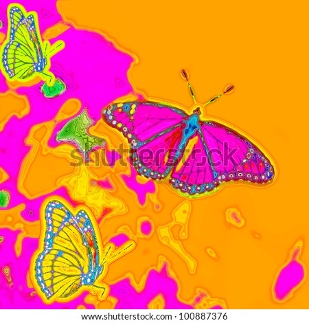 Digital art painting of beautiful psychedelic butterflies in a 1960s 1970s retro style concept with bright pink, orange, yellow and neon green colors. Square composition.
