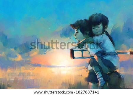digital art painting of Boy carry girl on his back, storytelling illustration Foto stock ©