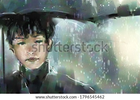digital art painting of boy holding an umbrella during a rain storm, acrylic on canvas texture, storytelling illustration