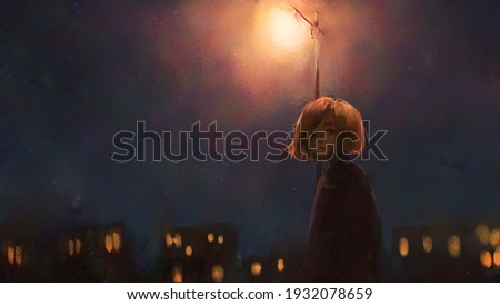 digital art painting of girl walking alone at night, oil on canvas texture. Photo stock ©