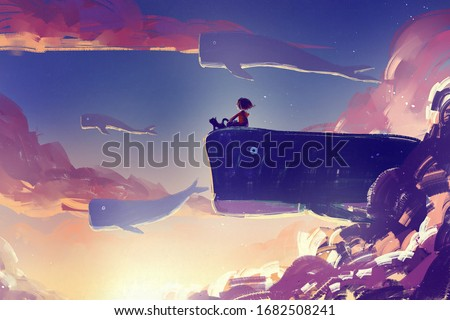 digital art painting of little girl on huge whale flying, acrylic on canvas texture, storytelling illustration Foto d'archivio ©