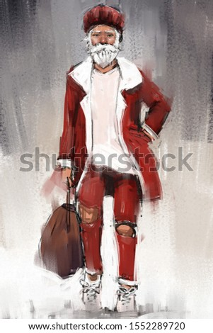 digital art painting set of handsome santa man, acrylic on canvas texture, storytelling illustration