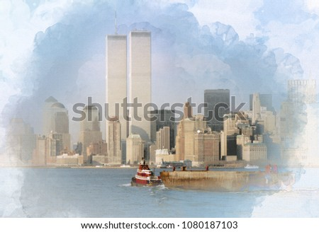 Digital artwork illustration of the World Trade Center on February 1988 at New York, USA. The WTC twin towers were blasted by terrorists at 11 September, 2001