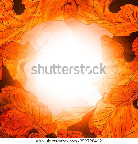 digital artwork - leaves of crumpled Kraft paper - background, frame, template for invitations, greeting cards, design