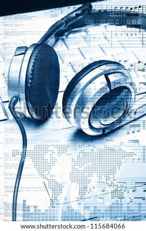 Digital audio and Music Conceptual illustration and background