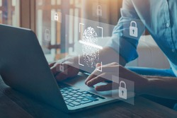 digital authentication, fingerprint login for cyber security online on internet