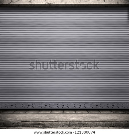 Digital background for studio photographers. Painted corrugated metal door with conrete wall and ground.