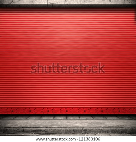 Stock Photo Digital background for studio photographers. Painted corrugated metal door with conrete wall and ground.
