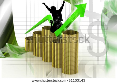 digital background in barrel showing rise of profit or earnings