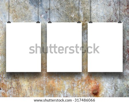 Digital background: three paper sheets with clips-brown gray blue ocher black white-grungy background