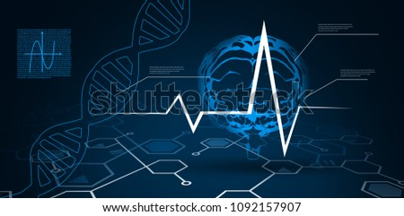 Digital background with brain and DNA Helix