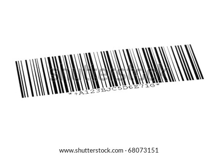 Digital bar code on paper over white background