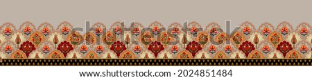 Digital Baroque Border Motif Design Illustration Artwork for textile print For Digital painting.Design for cover, fabric, textile, wrapping paper