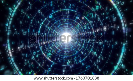Digital big data abstract tunnel light streaks effect animation background. Music festival/nightclub stage visual. (4K UHD seamless looping, computer digitally generated 3d render animation. stock photo