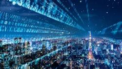 Digital binary code concept. Smart city.