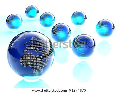 digital binary shiny blue and black world globes - stock photo