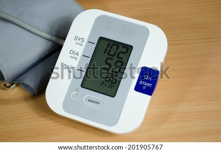 digital blood pressure measurement equipment on table