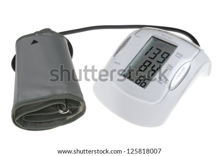 Digital blood pressure mesuring device isolated on white