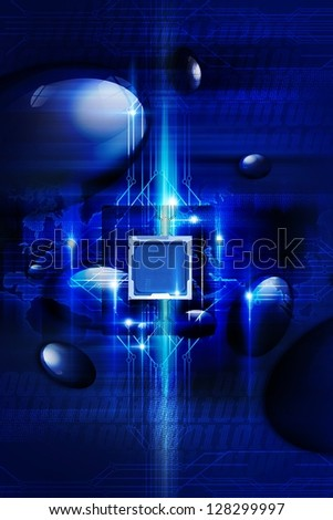 Digital Blue Background with Nano Processor, Circuit Board and Some Digital Effects. Technology Collection.