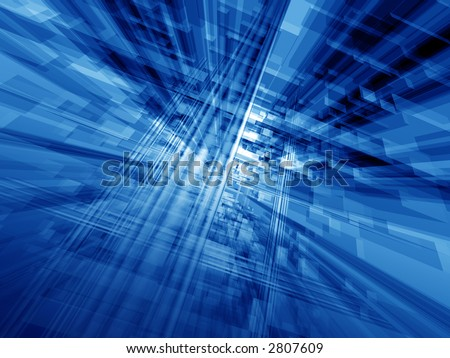 Digital blue hi tech matrix illumination stock photo