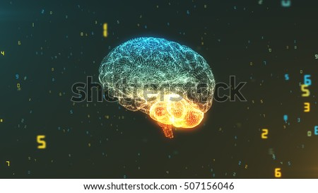 Digital brain floating in a cloud of numerical information illustrating the concepts of Big Data and artificial intelligence