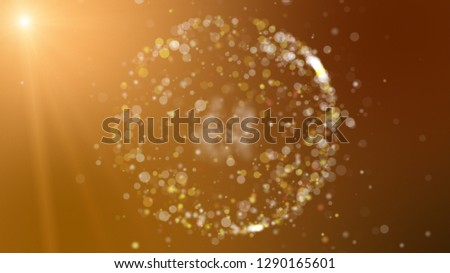 Digital brown abstract background with sparkling wave particles and areas with deep depths, circular formations with bright shining bright lights.