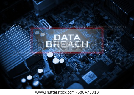 Digital Business and Technology concept, Virtual screen showing DATA BREACH. Foto d'archivio ©