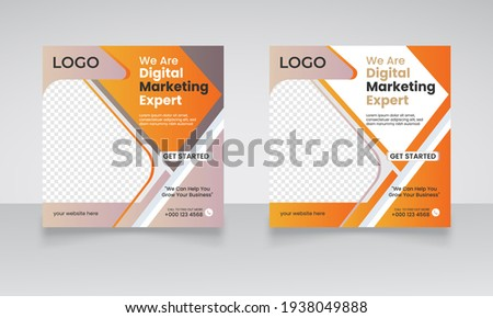 Digital business marketing social media minimalist square flyer poster and post template for digital marketing. corporate photo frame and fully editable web banner template.  Foto stock ©