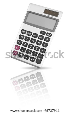 Digital calculator isolated on white background