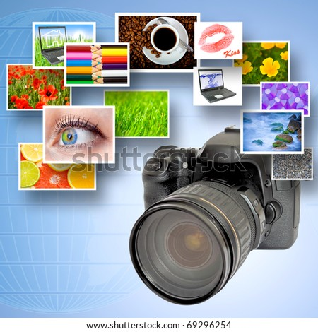 Digital camera and photographs against blue background and world map