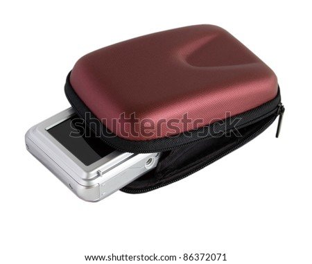 digital camera in a brown pouch - stock photo